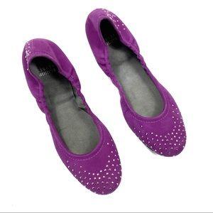 Stuart Weitzman Purple 9.5 Studded Ballet Flats